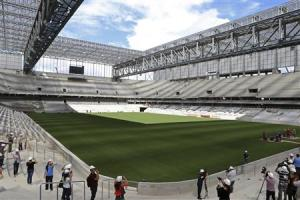 A view inside the Arena da Baixada soccer stadium in Curitiba