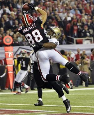 Falcons pick off Brees 5 times, beat Saints 23-13