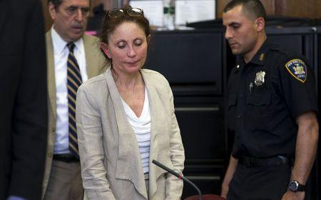 Gigi Jordan, a wealthy New York socialite who was convicted in 2014 of first-degree manslaughter for the 2010 killing of her 8-year-old autistic son in a posh Manhattan hotel room appears in Manhattan Criminal Court for her sentencing hearing in New York