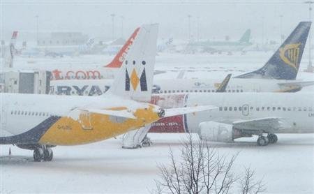 Planes sit on the tarmac at Gatwick airport in south England