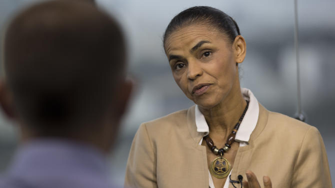 Marina Silva, presidential candidate of the Brazilian Socialist Party, speaks during an interview with AP in Rio de Janeiro, Brazil, Wednesday, Sept. 17, 2014. Silva was thrust into the Socialist Party's presidential nomination when its candidate of choice, Eduardo Campos, died in a plane crash last month. Heading into next month's vote, Silva is tied in polls with incumbent President Dilma Rousseff. (AP Photo/Silvia Izquierdo)