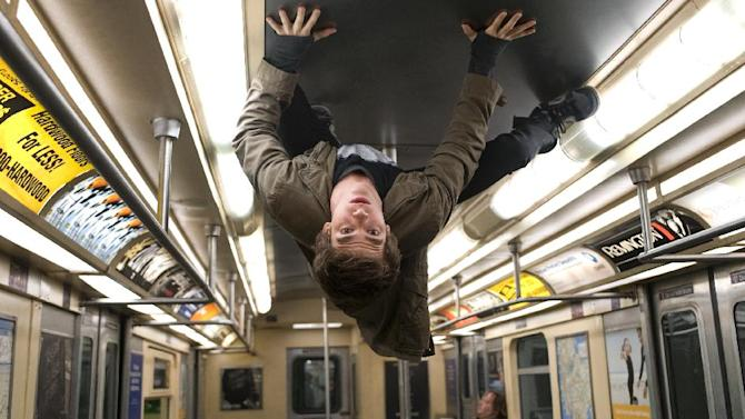 """In this film image released by Sony Pictures, Andrew Garfield portrays Peter Parker and Spider-Man in a scene from """"The Amazing Spider-Man, set for release on July 3, 2012. (AP Photo/Columbia - Sony Pictures, Jaimie Trueblood)"""