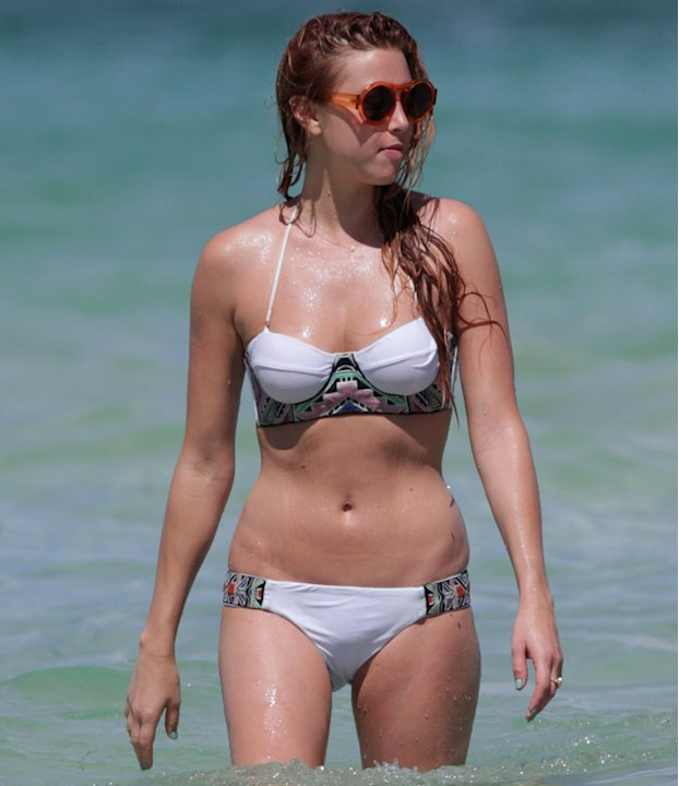 Celebrities in bikinis: Whitney Ports embroidered bikini is to die for as is her killer bod.