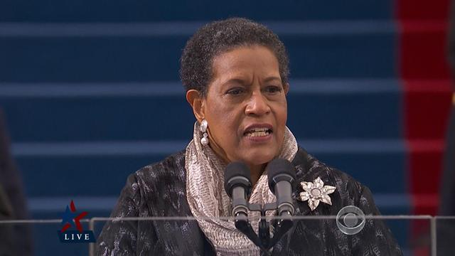 Myrlie Evers-Williams gives the inaugural invocation