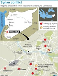 Maps of Syria and Damascus showing latest developments in the conflict. President Bashar al-Assad has reshuffled his cabinet as regime warplanes raided rebel areas in a bid to end the stalemate in Syria's deadly civil war and hopes for a political solution appeared to founder