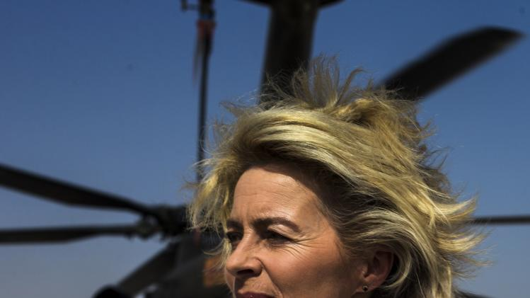 German Defence Minister von der Leyen steps out of a CH-53 helicopter at Camp Shaheen outside Mazar-i-Sharif