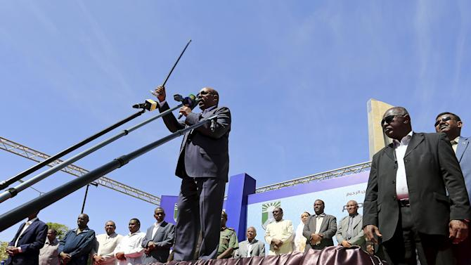 Sudan's President Omar Hassan Ahmad al-Bashir addresses supporters during a National Dialogue campaign event in Khartoum