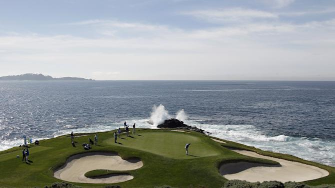 View of the seventh green during the first round of the Pebble Beach Pro-Am golf tournament