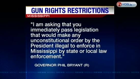 Mississippi governor weighs in on gun issue