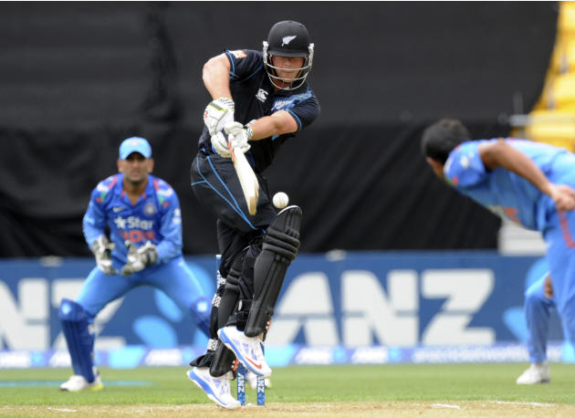 New Zealand's Jessie Ryder bats off the bowling of India's Mohammed Shami in the fifth and final one-day international cricket match in Wellington, New Zealand, Friday, Jan. 31, 2014. (AP Photo/SN