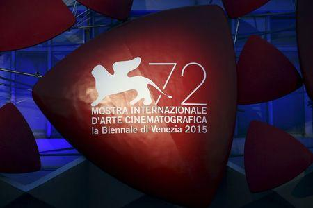 The 72nd Venice Film Festival logo is pictured the entrance of the venue in Venice