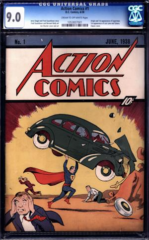 "In this image released by Metropolis Collectibles/ComicConnect, Corp., the cover of copy of ""Action Comics No. 1"" is shown. The issue, featuring the first appearance of Superman, sold for $2,161,000 at an online auction ending Wednesday, Nov. 30, 2011. (AP Photo/Metropolis Collectibles, Inc./ComicConnect, Corp.)"