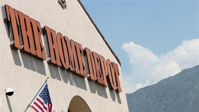 A sign outside The Home Depot store is pictured in Monrovia, California