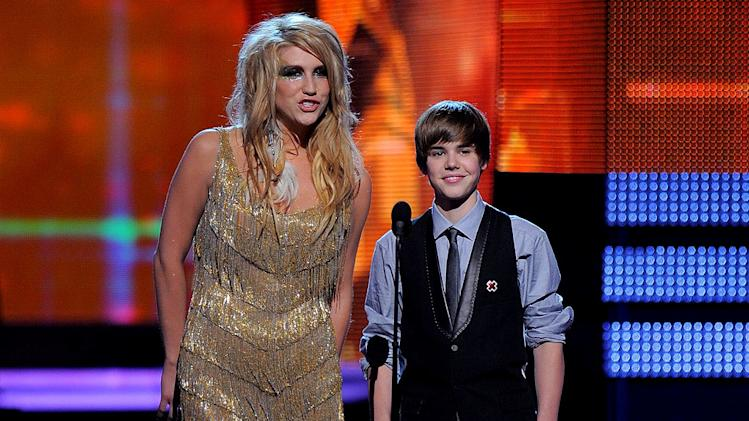 Ke$ha and Justin Bieber at The 52nd Annual Grammy Awards held at Staples Center on January 31, 2010 in Los Angeles, California.