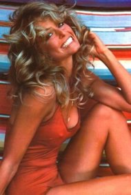 Farrah Fawcett posed for this famous shot in 1976.