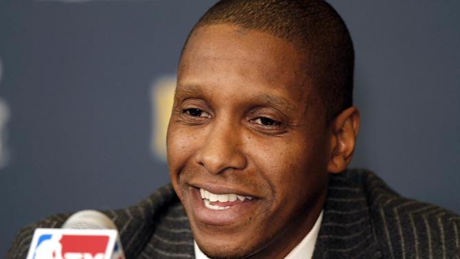 FILE - In this Feb. 22, 2011, file photo, Denver Nuggets executive vice president of basketball operations Masai Ujiri addresses the media about the trade of Carmelo Anthony and Chauncey Billups to the New York Knicks during an NBA basketball news conference in Denver. Ujiri was named the NBA's executive of the year on Thursday, May 9, 2013, a day after Karl was named the league's top coach. (AP Photo/Barry Gutierrez, File)