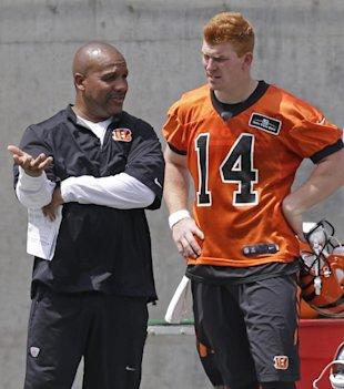 Hue Jackson and quarterback Andy Dalton (AP)
