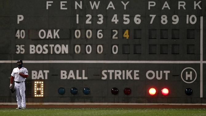 Boston Red Sox left fielder Daniel Nava stands in front of a scoreboard during the fifth inning of a baseball game against the Oakland Athletics at Fenway Park in Boston Tuesday, April 23, 2013. (AP Photo/Winslow Townson)