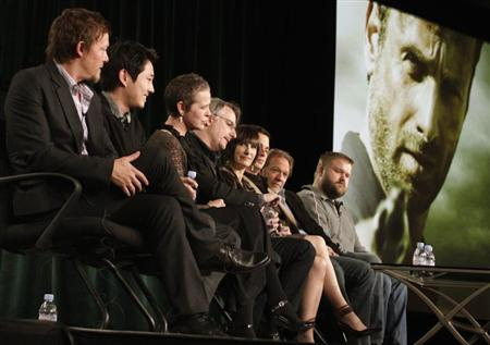 "Cast members and producers of ""The Walking Dead"" take part in a panel discussion at AMC's TCA Winter Press Tour in Pasadena, California"