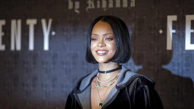 Rihanna attends the red carpet before the Fenty PUMA by Rihanna Fall/Winter 2016 collection show during New York Fashion Week in New York