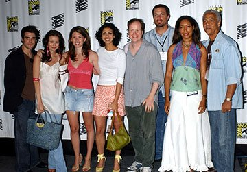 Sean Maher, Summer Glau, Jewel Staite, Morena Baccarin, Joss Whedon, Adam Baldwin, Gina Torres and Ron Glass of Serenity