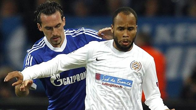 Schalke's Christian Fuchs and Montpellier's Garry Bocaly (Reuters)