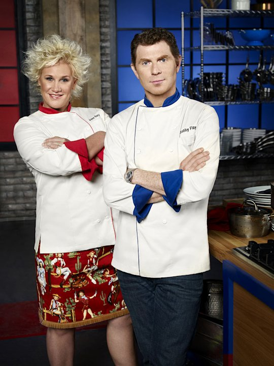 Hosts Anne Burrell and Bobby Flay on &quot;Worst Cooks in America.&quot; 