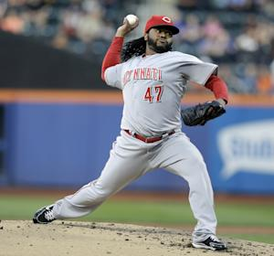 Cincinnati Reds starting pitcher Johnny Cueto throwss during the first inning of the baseball game against the New York Mets at Citi Field Monday, May 20, 2013 in New York. (AP Photo/Seth Wenig)