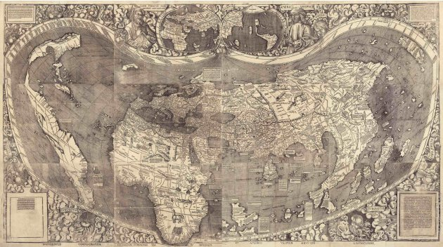 A world map from 1507 world map by cartographer  Martin Waldseemuller is pictured in this handout image from the Library of Congress