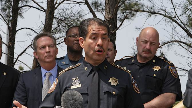 Harris County Sheriff Adrian Garcia speaks during a press conference updating information on the multiple stabbing incident at Lone Star College's Cypress-Fairbanks campus in Cypress, Texas, Tuesday April 9, 2013.  At least 14 people were hurt in a stabbing attack on the campus Tuesday.   (AP Photo/Houston Chronicle,James Nielsen)