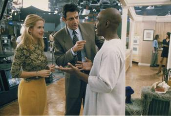 Kelly Preston , Jeff Goldblum and Eddie Murphy in Touchstone's Holy Man