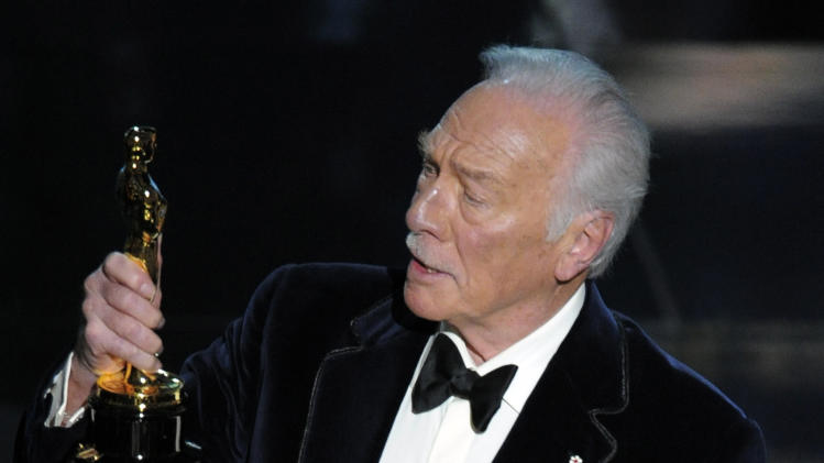 "Christopher Plummer accepts the Oscar for best actor in a supporting role for ""Beginners"" during the 84th Academy Awards on Sunday, Feb. 26, 2012, in the Hollywood section of Los Angeles. (AP Photo/Mark J. Terrill)"