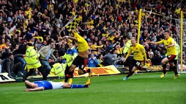 Troy Deeney celebrates his late winner