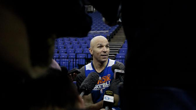 "New York Knicks player Jason Kidd speaks as he is interviewed by members of the media before a team training session at the 02 arena in London, Wednesday, Jan. 16, 2013.  The Detroit Pistons are due to play a ""home"" NBA league game against the New York Knicks at the arena on Thursday.   (AP Photo/Matt Dunham)"