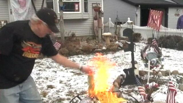 John Burri, Father of Fallen Soldier, Burns NJ Flag to Protest Whitney Houston Tribute