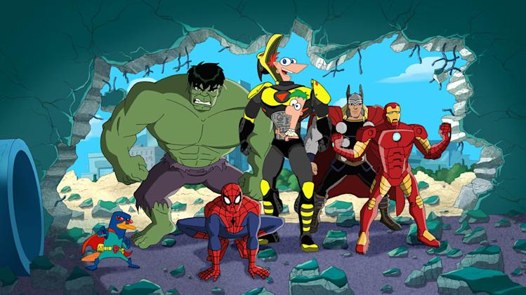 PERRY THE PLATYPUS, HULK, SPIDER-MAN, PHINEAS, FERB, THOR, IRON MAN