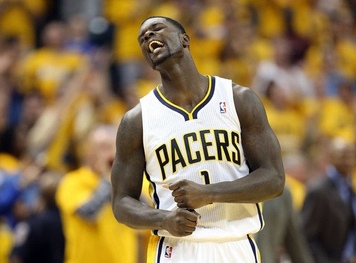 INDIANAPOLIS, IN - MAY 18:  Lance Stephenson #1 of the Indiana Pacers celebrates in the game against the New York Knicks during Game Six of the Eastern Conference Semifinals of the 2013 NBA Playoffs a