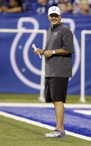 Indianapolis Colts head coach Chuck Pagano watches a public practice during the NFL team's football minicamp at Lucas Oil Stadium in Indianapolis, Wednesday, June 12, 2013. (AP Photo/Michael Conroy)