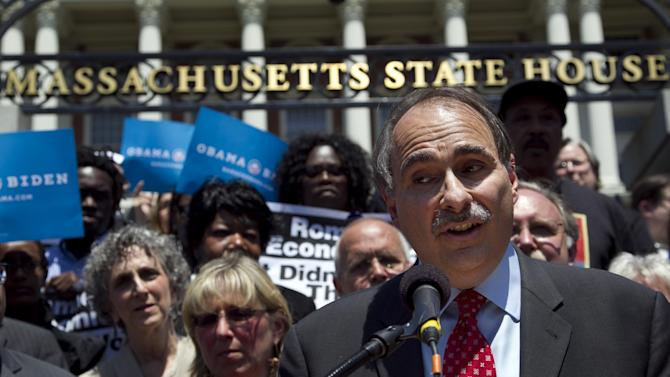 David Axelrod, a strategist for President Obama, addresses a crowd in front of the Statehouse in Boston Thursday, May 31, 2012. Axelrod addressed the crowd during the event, criticizing former Mass. Gov. and Republican Presidential candidate Mitt Romney's record as governor of the state. (AP Photo/Steven Senne)