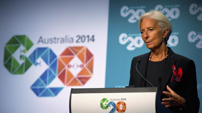 IMF Managing Director Lagarde speaks during a media conference after the G20 Finance Ministers and Central Bank Governors Meeting in Cairns