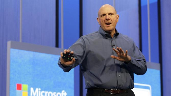 Microsoft CEO Steve Ballmer speaks at a Microsoft event in San Francisco, Wednesday, June 26, 2013. Microsoft is using a three-day conference this week to give people a peek into Windows 8.1, a free update that promises to address some of the gripes people have with the latest version of the company's flagship operating system. A preview version of Windows 8.1 was released Wednesday at the start of the Build conference for Microsoft partners and other technology developers. (AP Photo/Jeff Chiu)