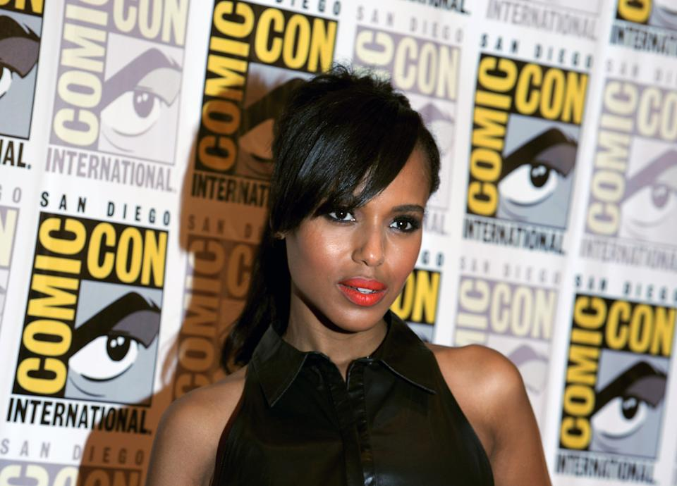 "Kerry Washington poses at the ""Django Unchained"" press line at Comic Con, Saturday, July 14, 2012, in San Diego. (Photo by Jordan Strauss/Invision/AP)"