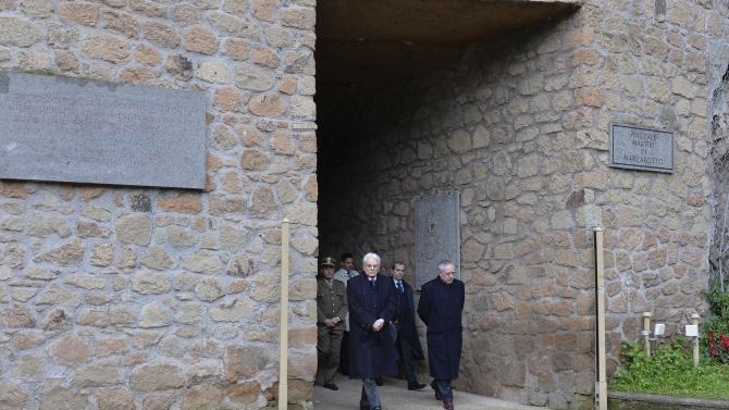 Italy's new President Mattarella visits the Fosse Ardeatine, National Monument and Memorial Cemetery of victims of German occupation, in Rome