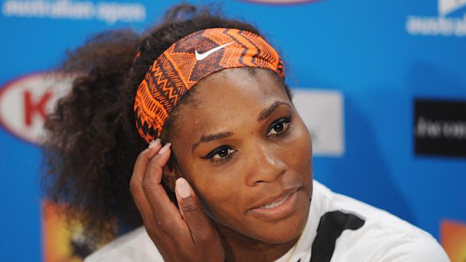 FILE - In this Jan. 23, 2013 file photo, Serena Williams answers questions at a press conference following her quarterfinal loss to compatriot Sloane Stephens at the Australian Open tennis championship in Melbourne, Australia. Williams can reclaim the No. 1 ranking at the Qatar Open, a spot the 15-time major champion has not held since October 2010.  The second-ranked Williams will move up if she reaches the semifinals of the tournament, which starts Monday, Feb. 11, 2013,  and features nine of the top 10 players. The 31-year-old American would be the oldest woman to reach No. 1. (AP Photo/Andrew Brownbill, File)