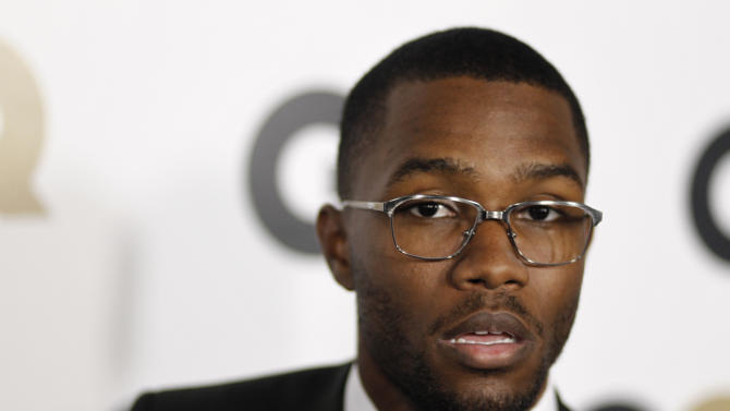 "FILE - This Nov. 17, 2011, file photo, shows musician Frank Ocean at the 16th annual GQ ""Men of the Year"" party in Los Angeles. Ocean says he won't pursue criminal charges against Chris Brown, who is alleged to have punched Ocean in a recent fight, in an announcement on his on his Tumblr page Saturday, Feb. 2, 2013. (AP Photo/Matt Sayles, File)"