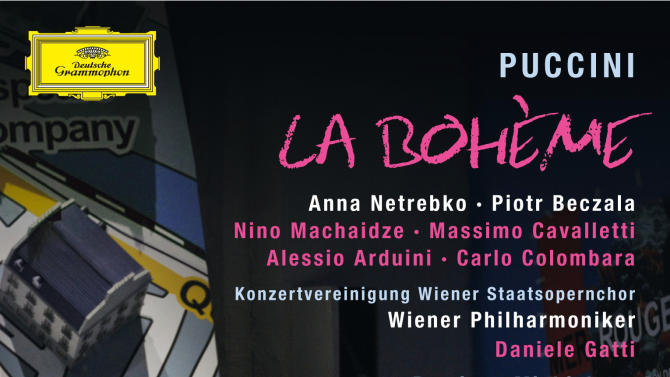 """This undated publicity photo provided by Deutsche Grammophon and Decca Classics, U.S. shows the cover of the DVD for Puccini's """"La Boheme,"""" starring Anna Netrebko and Piotr Beczala from a 2012 Salzburg Festival staging of the production. Daniele Gatti leads the Vienna Philharmonic.  The DVD and BluRay were released on December 11, 2012 in the US. (AP Photo/Deutsche Grammophon & Decca Classics, U.S.)"""