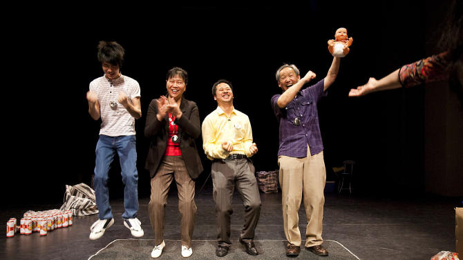 """This undated image released by The Public Theater shows actors performing a scene from the play """"C'est du Chinois,"""" running January 9-16 at The Public Theater at Astor Place as part of the Under the Radar Festival 2013. (AP Photo/The Public Theater, Raquel Belli)"""