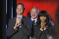 "In this publicity image released by ABC, cast members Matt Letscher, from left, Jeff Perry and Kerry Washington are shown in a scene from the series ""Scandal,"" airing Thursdays at 10 p.m. EST on ABC. (AP Photo/ABC, Carol Kaelson)"