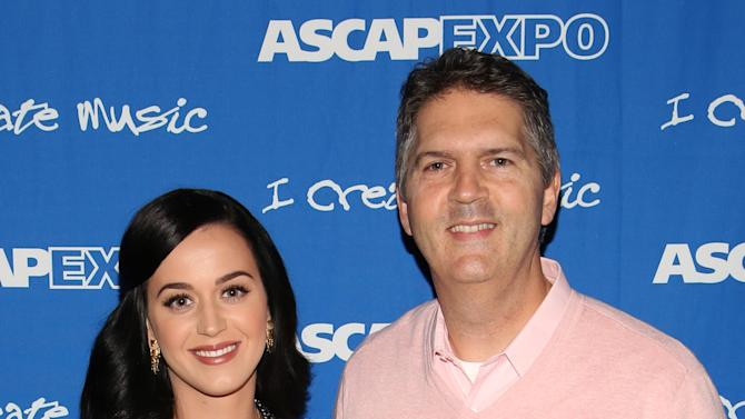"""(L-R) Songwriter/Artist Katy Perry and EVP, Membership, ASCAP Randy Grimmett attend the 8th Annual ASCAP """"I Create Music"""" EXPO, on Thursday, April 18, 2013 in Hollywood, California. (Photo by Brian Dowling/Invision for ASCAP/AP Images)"""