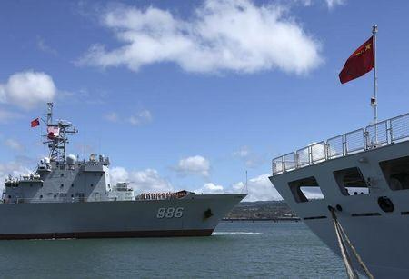 The Chinese PLA Navy replenishment ship Qiandaohu arrives for RIMPAC 2014, in Honolulu